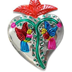 Coeur ex-voto traditionnel - Coeur de laiton mexicain (Argent)