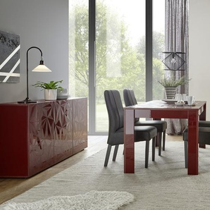 Salle a manger design rouge laqué buffet 3 portes + table NINO 3
