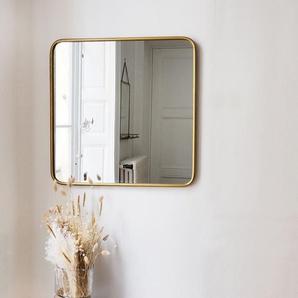 Miroir carré angles arrondis laiton