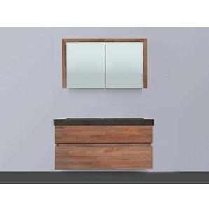 Saniclass Natural Wood Meuble avec armoire miroir 120cm modèle suspendu Grey Oak avec vasque en pierre naturelle