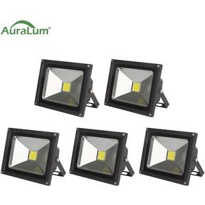 5×Auralum Projecteur LED 50W IP65 Spot LED 4200-5000LM Éclairage Extérieur et Intérieur Blanc Froid 6000-6500K Coque Noir