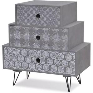 Table de nuit chevet commode armoire meuble chambre avec 3 tiroirs gris - Gris - HELLOSHOP26