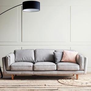 Canapé 3 places fixe en cuir gris restanque