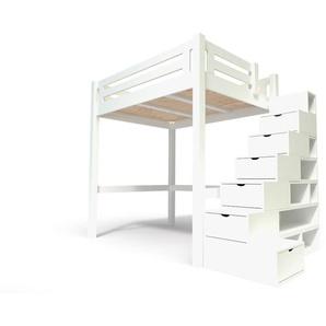 Lit Mezzanine Alpage bois + escalier cube hauteur réglable 140x200 Blanc