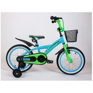 BIKIO | Vélo évolutif enfant 2 roues 16 + stabilisateurs | Cadre acier Selle confort + Acessoires Panier/Protection mousse | Bleu/Vert - TROUV