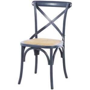 Chaise en bouleau bleu foncé et rotin Tradition