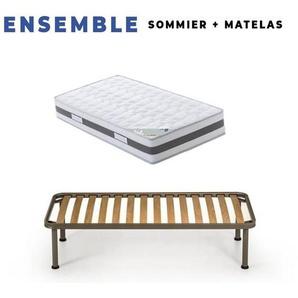 Matelas 70x190 x 23 cm + Sommier + pieds Offerts avec Latex Naturel densit - KING OF DREAMS
