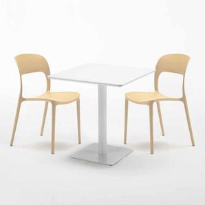 Table carrée 70x70 blanche avec 2 chaises colorées RESTAURANT MERINGUE | Beige - AHD AMAZING HOME DESIGN