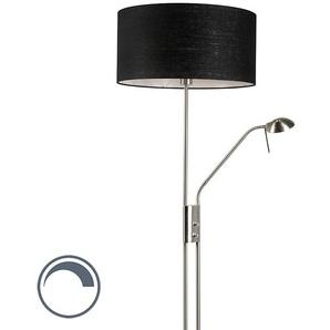 Lampadaire en acier et noir avec bras de lecture réglable - Luxor Qazqa Moderne Luminaire avec variateur interieur Rond