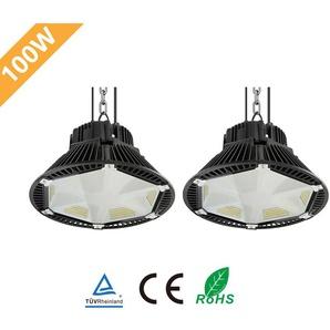2×Anten 100W UFO LED Anti-Éblouissement Suspension Industrielle LED Étanche IP65 Projecteur LED 100W Éclairage Haute Baie Blanc Neutre 4000K (Connecteur de câble étanche Fourni)
