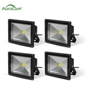 4×Auralum 20W Projecteur LED IP65 Spot LED Blanc Froid 6000K Éclairage Extérieur et Intérieur 1600-1700LM Coque Noir