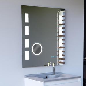 Miroir anti-buée EXCELLENCE 70x80 cm - éclairage intégré à LED, interrupteur sensitif, loupe et heure