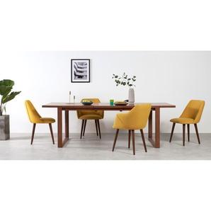 Lule, lot de 2 chaises, tissu jaune moutarde et noyer