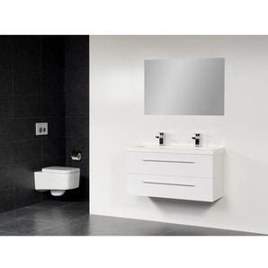 Saniclass XS line Meuble salle de bain avec miroir 80x38cm Blanc brillant SW2353