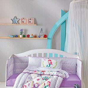 DecoMood Princesse sirène-100% Coton Ensemble de Chambre denfant de Berceau pour Filles, 6pièces Doudou/Parure de lit bébé avec Tour de lit, Doudou, Berceau draps, taies doreiller