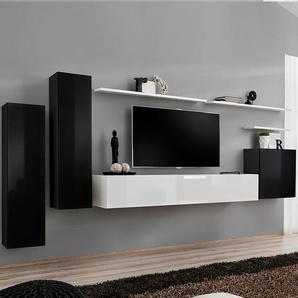 Meuble tv suspendu noir et blanc SOLENDRO 2