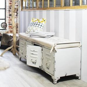 Banc industriel métal blanc, coussin beige, 4 portes rangement