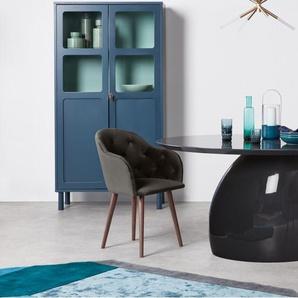 Clarris, lot de 2 chaises à accoudoirs et dossier haut, velours gris et pieds en noyer