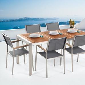 Ensemble de jardin table 180 cm 6 chaises grises GROSSETO