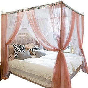 Mosquito net bedroom double bed gauze three door landing childrens single bed account summer pest control tent, pink, 1.8M