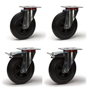 Lot roulettes pivotantes et pivotantes à frein caoutchouc noir 250 mm 885Kg - 2GT