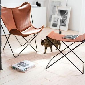 Manufakturplus Reose-pied pour Hardoy Butterfly Chair  - Cuir de buffle bio - Buffle Bio nature - acier noir