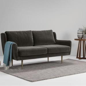 Simone, canapé 2 places, velours gris béton