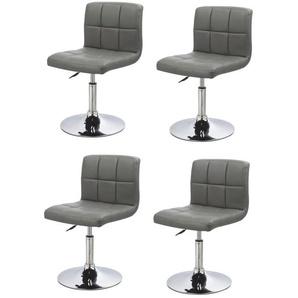 Lot de 4 chaises de salle à manger / cuisine simili-cuir gris hauteur réglable - DéCOSHOP26