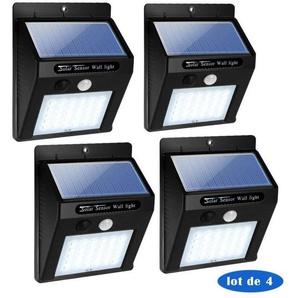 COSTWAY 4 Pack 30 LED Lampe Solaire Extérieur Murale avec Bouton,Etanche IP45,500 Fois pour Jardin,Garage,Porte dEntrée 96 x 48 x 124MM