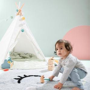 Lytte Tapis lavables pour enfants Inka Smiling Face Vert clair ø 150 cm rond - Tapis pour chambre denfants/bébé