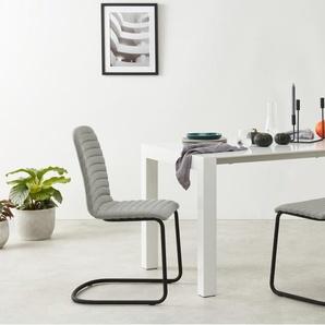 Cata, lot de 2 chaises cantilever matelassées, gris marne