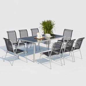 Lusiana 8 : ensemble de jardin en acier inoxydable gris et textilène 8 personnes