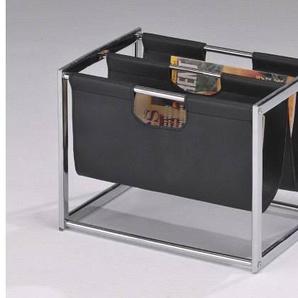 Porte revue moderne en métal et simili cuir noir