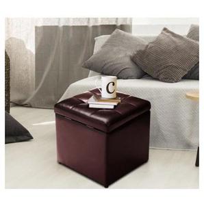 COSTWAY Faux cuir pliante Ottoman Pouf de stockage Siège unique Toy Box Tabouret Brun