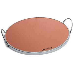 Smeg Pierre à pizza Ø 35cm - marron/glacé/2 poignées/cadre de métal chromé
