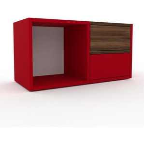 Table de chevet - Rouge, contemporaine, table de nuit, avec tiroir Rouge - 79 x 41 x 35 cm, modulable