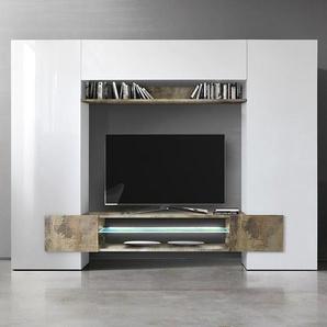 Meuble tv mural blanc laqué et couleur bois EROS 2 avec éclairage