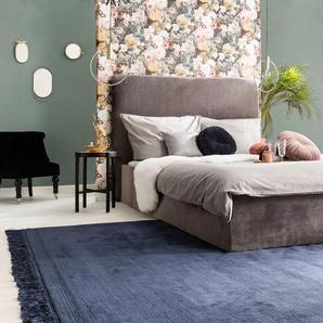 Tapis poil ras en viscose Pearl Bleu 140x200 cm - Tapis poil court design moderne pour salon