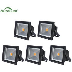 5×Auralum 30W Projecteur LED IP65 Spot LED 2500-3000LM Éclairage Extérieur et Intérieur Blanc Chaud 3000-3500K Coque Noir