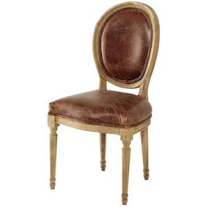 Chaise médaillon en cuir et chêne massif marron Louis