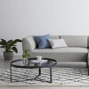 Essentials - Kiva, canapé d'angle avec méridienne à droite, tissu gris clair
