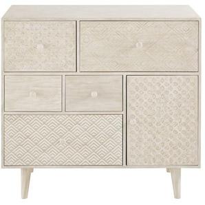 Cabinet de rangement 5 tiroirs et 1 porte blanc cassé Zen Market