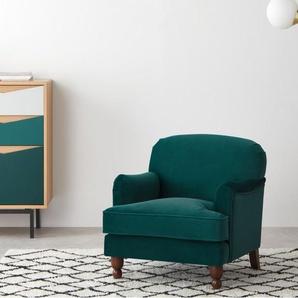 Orson, petit fauteuil, velours bleu écume