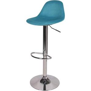 Chaise de bar Pavo en velours bleu 60/82 cm - RENDEZ VOUS DéCO