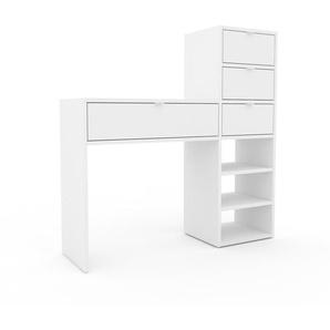 Table console - blanc, moderne, raffinée, avec tiroir blanc - 116 x 118 x 35 cm, personnalisable