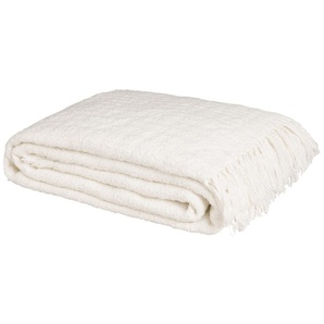 Plaid en coton écru 160x210