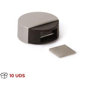 Boîte avec 10 Arrêt de porte avec aimant adhésif de marque REI, style moderne, en plastique et fini beige.