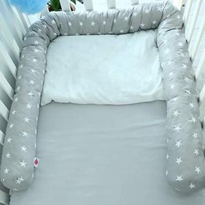 Babymajawelt® Tour de lit pour lit bébé 210 cm Stars gris