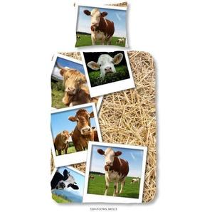 GOOD MORNING Parure de couette Coton COWS - 1 housse de couette 140x200cm + 1 taie doreiller 60x70cm - Multicolore