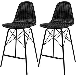 Chaise de bar mi-hauteur Tiptur en résine tressée noire 63 cm (lot de 2) - RENDEZ VOUS DéCO